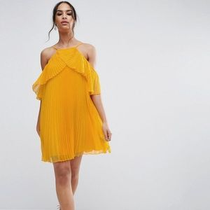 ASOS Double Layer Cold Shoulder Pleated Mini Dress